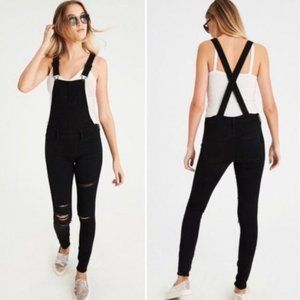 NWT American Eagle Jegging Overall Black Distress